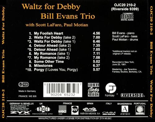 Bill Evans Trio - Waltz For Debby - Back